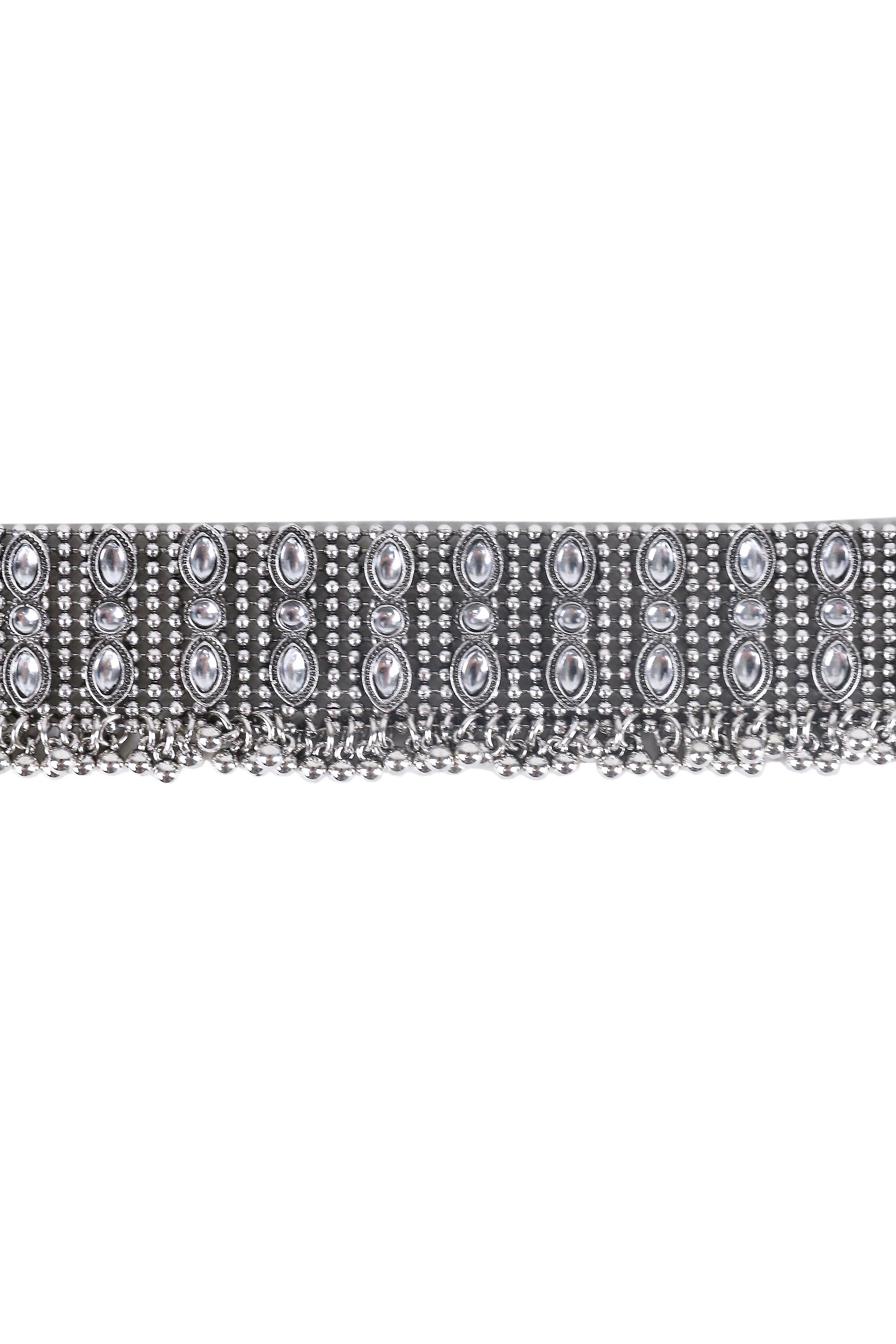Lovemystyle Thick Silver Beaded Choker Necklace