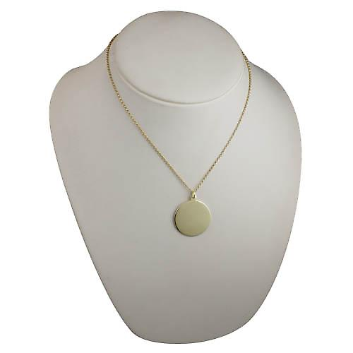9ct Gold 30mm round plain round Disc with a belcher Chain 18 inches