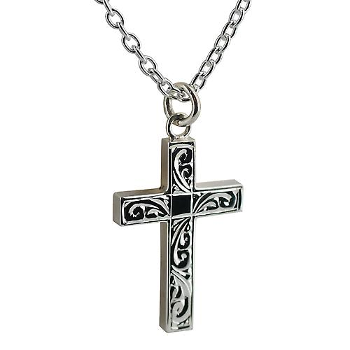 Silver 30x20mm hand engraved block Cross with Cable link chain