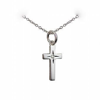 Серебряный 17x10mm алмаз звезды набор твердого блока крест с Роло цепь 24 дюймов
