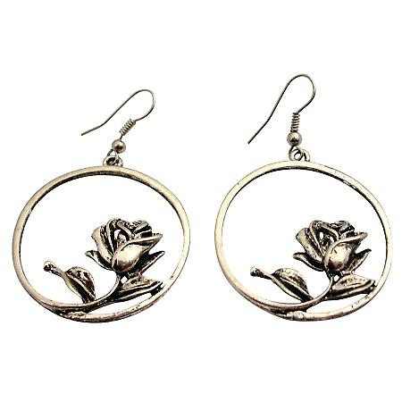 Alloy Artistically Earring w/ Rose Inside The Round Earrings Dangle