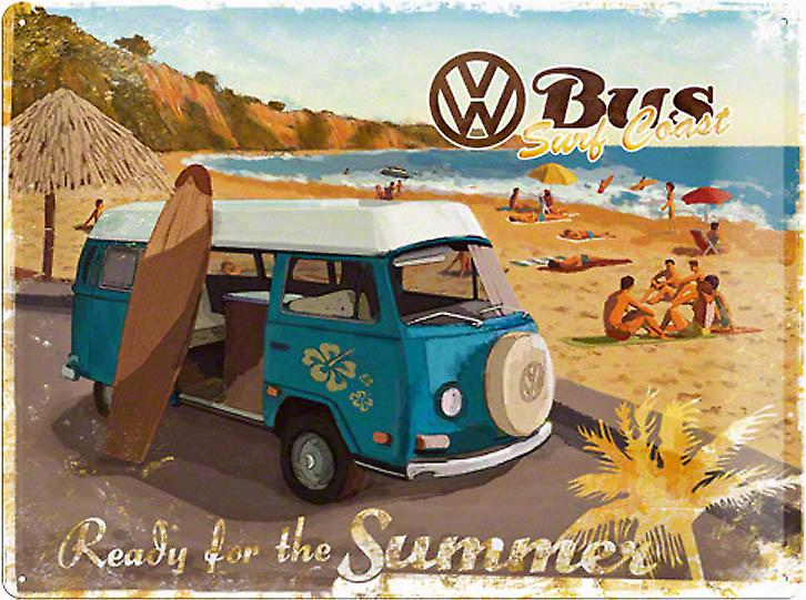VW Minibus Ready for Summer metal postcard / mini-sign    (na)