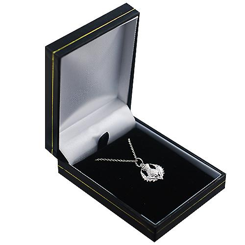 Silver 15mmm Scottish Thistle Pendant with a Rolo Chain 14 inches Only Suitable for Children