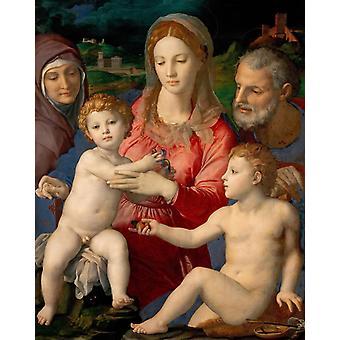 Hellige familie med St. Anne og spedbarn, Agnolo Bronzino, 50x40cm