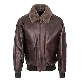 Men's Fur Collar Aviator Jacket - Burgundy