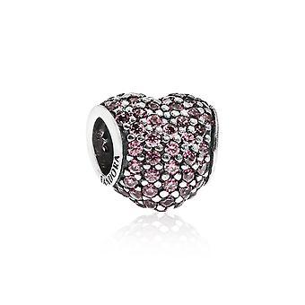 Pandora Pave Heart Silver & Pink CZ Charm 791052PCZ