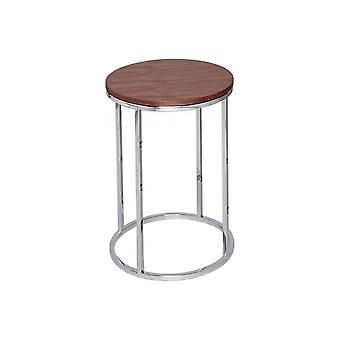 Gillmore Space Walnut And Silver Metal Contemporary Circular Side Table