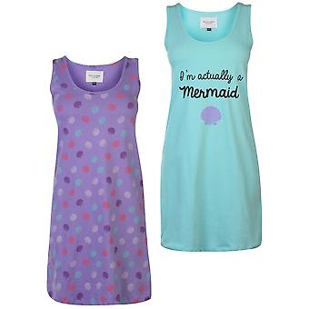 Rock and Rags mujeres señoras dos paquete Nightdress Scoop cuello