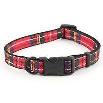 Ancol Red Tartan justerbar hundhalsband - 20-30cm