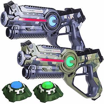 2 Pistolets laser (vert camo, gris) 2 cibles