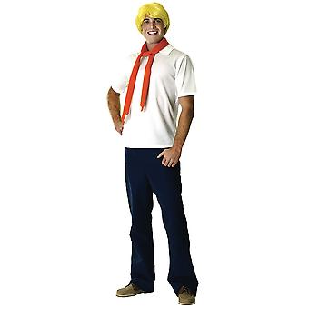 Fred Scooby Doo Scooby-Doo Cartoon Movie Licensed Adult Mens Costume & Wig