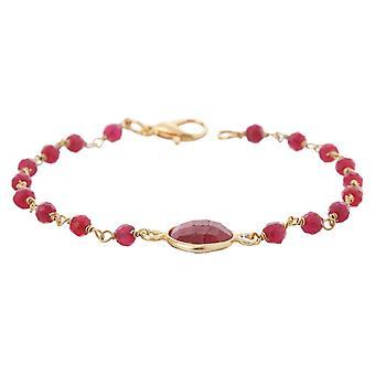 Gemshine armbånd med dype røde Rubin edelstener i 925 sølv eller gullbelagt