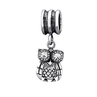 Ugle - 925 Sterling sølv Jewelled perler - W29554X