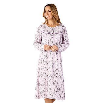 Slenderella ND4111 Women-apos;s Jersey Lilac Purple Floral Cotton Nightdress