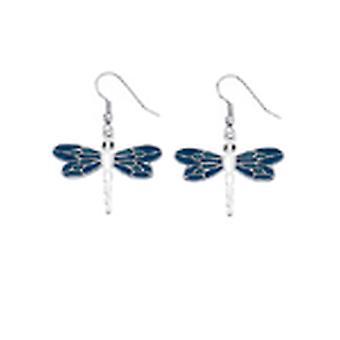 Blauw glazuur & zilveren Dragonfly Drop Oorbellen