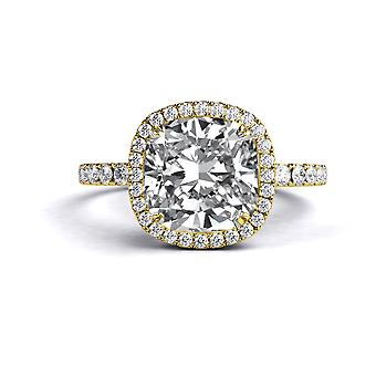 1.9 Carat F SI2 Diamond Engagement Ring 14K Yellow Gold Halo Micro Pave Cathedral