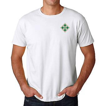 US Army 4th Infantry Division Embroidered Logo - Ringspun Cotton T Shirt
