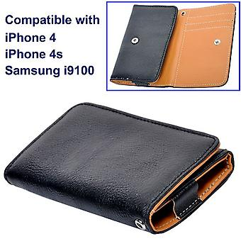 Leather handbag, wallet, with type door cards, for iPhone 4/4s and Samsung Galaxy S2