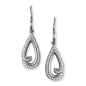 Sterling Silver and CZ Brilliant Embers Teardrop Earrings