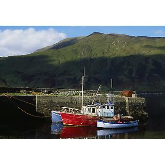Connemara Co Galway Ireland Fishing Boats Near Leenane PosterPrint