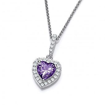 Cavendish French So Cute Mini Amethyst CZ Drop Heart Pendant with 16-18