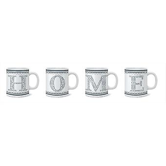 Set of 4 Porcelain Mugs Home Design Ideal for Home and Office Kitchen Modern