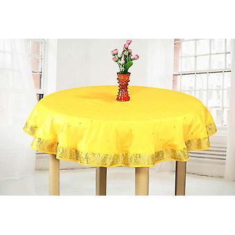 Yellow - Handmade Sari Tablecloth (India) - Round