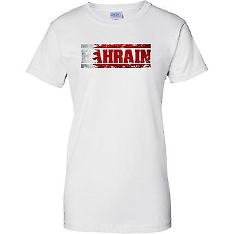 Bahrain Grunge Country Name Flag Effect - Ladies T Shirt
