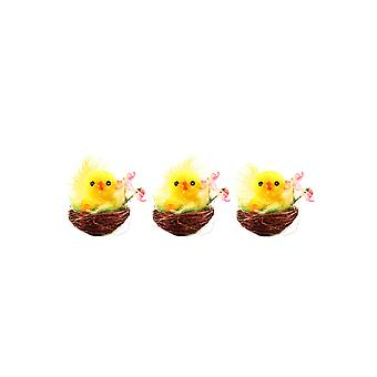 Pack of 3 Fluffy Yellow Easter Chicks in Nest Easter Decoration