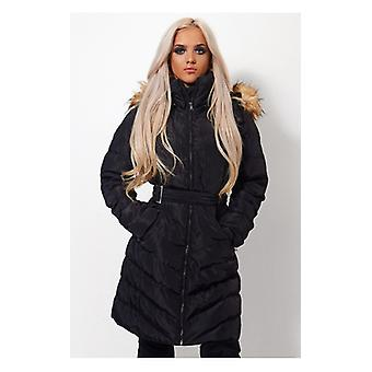 The Fashion Bible Black Quilted Fur Parka