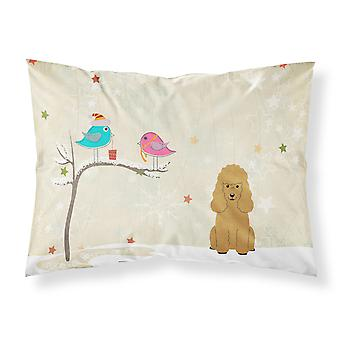 Christmas Presents between Friends Poodle Tan Fabric Standard Pillowcase