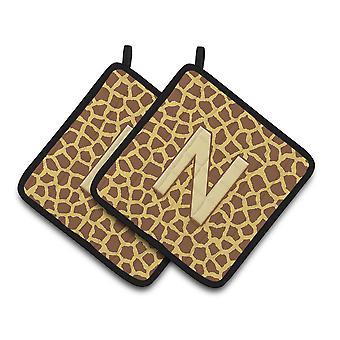 Monogram Initial N Giraffe  Pair of Pot Holders