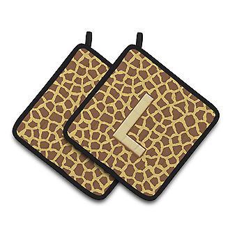 Monogram Initial L Giraffe  Pair of Pot Holders