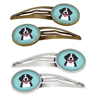 Checkerboard Blue Bernese Mountain Dog Set of 4 Barrettes Hair Clips