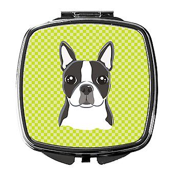 Carolines Treasures  BB1139SCM Lime Checkered Boston Terrier Compact Mirror