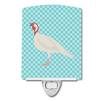 Beltsville Small White Turkey Hen Blue Check Ceramic Night Light