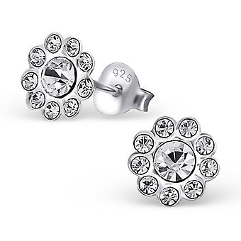 Flower - 925 Sterling Silver Crystal Ear Studs - W19115x