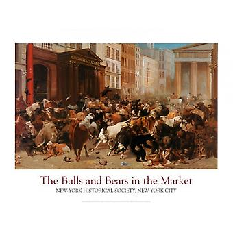 Bulls and Bears in the Market Poster Print by William Beard (36 x 27)