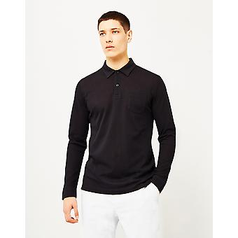 Sunspel lang ærme Riviera Polo Shirt sort