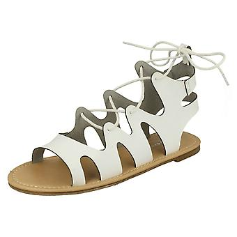 Dames plek op Lace Up been platte Gladiator sandalen F0976