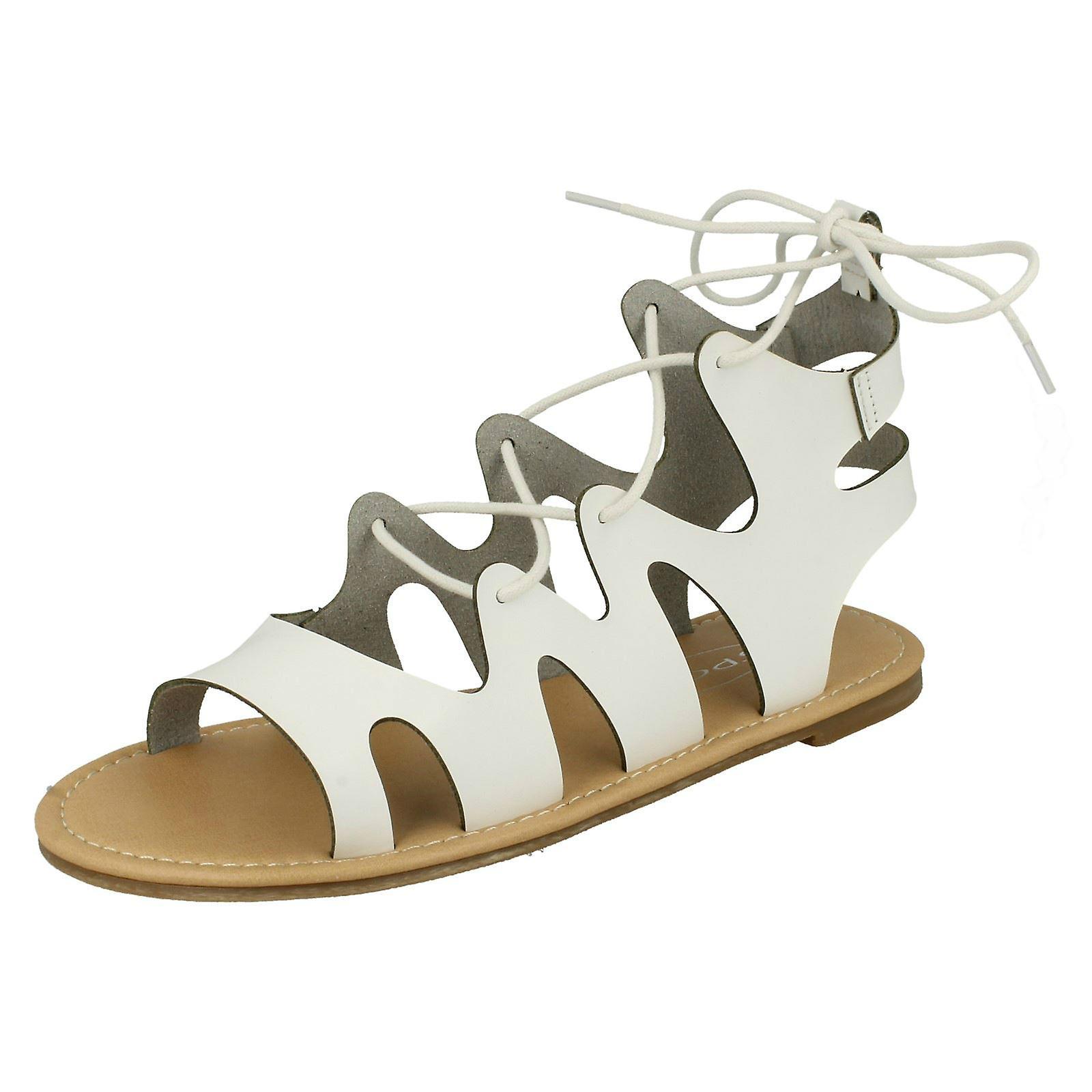 Ladies Spot su pizzo gamba piatto Gladiator Sandals F0976