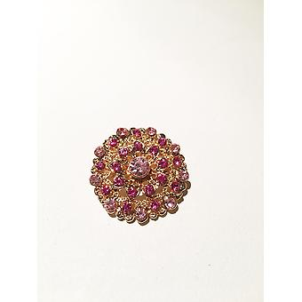 Gold and Pink/Purple Brooch
