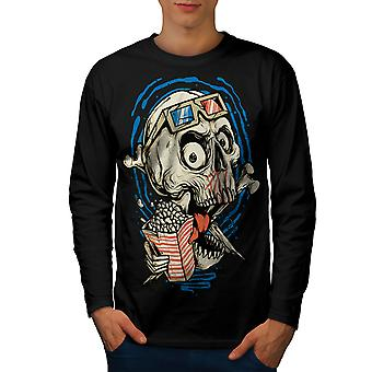 Skull Cinema 3D Funny Men BlackLong Sleeve T-shirt | Wellcoda