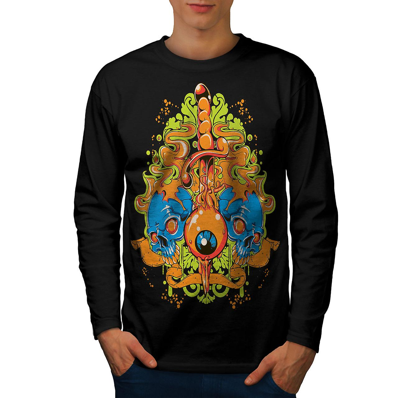 Eye Badass Death Skull Men BlackLong Sleeve T-shirt | Wellcoda