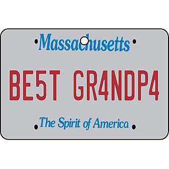 Massachusetts - Best Grandpa License Plate Car Air Freshener