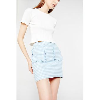 Ouor Gingham Mini Skirt With Ruffled Pockets