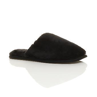 Ajvani womens flat winter luxury cosy fluffy faux sheepskin fur lined slip on mules slippers
