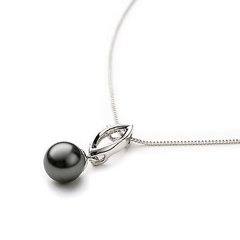 Pearl Grey Crystal pendant and plate white gold