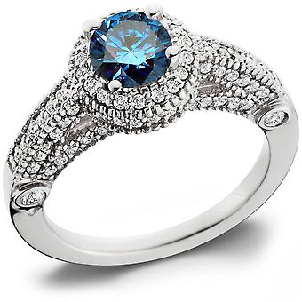 1 1 / 6ct Halo Milgrained Blue Diamond Engagement Ring 14K białe złoto