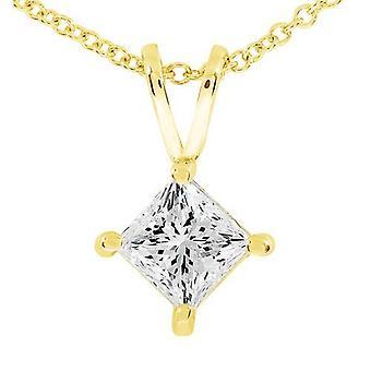 14k guld Princess Cut 3 / 8ct diamant Solitaire hänge